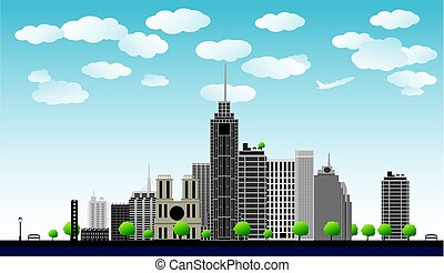big city with skyscrapers, blue sky,trees. vector illustration