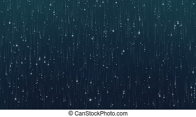 Abstract Particles Glitter on Dark Blue Background.