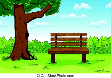 Illustration of a cartoon summer landscape with bench