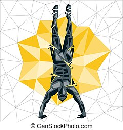 Geometric Crossfit concept. Handstand Push up. Vector...