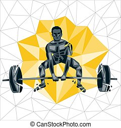 Geometric Crossfit concept. Barbell Snatch. Vector...