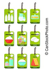 Dairy products flat set - Dairy products tags flat set....