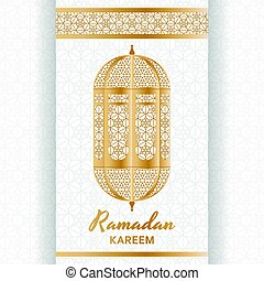 Ramadan Kareem Background. Islamic Arabic lantern. Greeting card