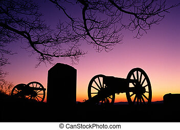 War Memorial Wheeled Cannon Military Civil War Weapon Dusk...