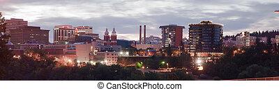 Panoramic View Spokane Washington Downtown City Skyline...