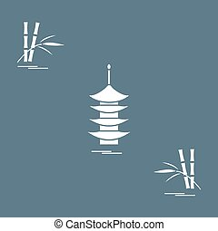 Stylized icon of the pagoda and bamboo. Travel and leisure....