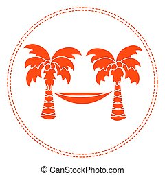 Cute vector illustration with palm trees and hammock. Travel and leisure.