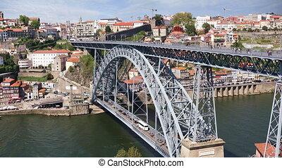 Dom Luis I bridge in Porto, Portugal - Porto city view with...