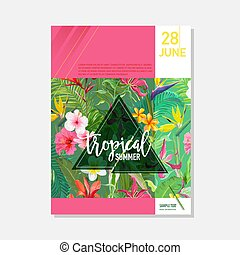 Brochure Template. Tropical Flowers and Palms Summer Graphic...