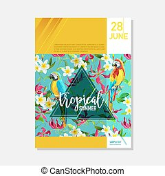 Brochure Template. Tropical Flowers and Parrots Summer...