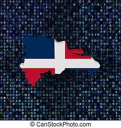 Dominican Republic map flag on hex code illustration