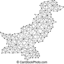 Map of Pakistan from polygonal black lines and dots of...