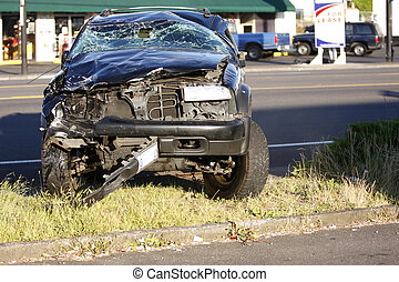Car accident - A car that has been totaled in an accident.