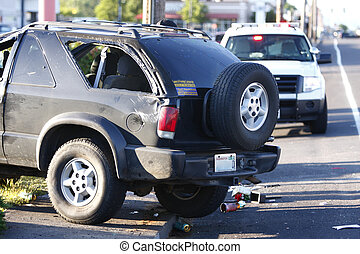 Car accident - A car that has been totaled in an accident