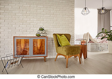 Vintage commode and armchair - Vintage wooden commode and...