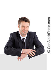 Happy handsome business man. - Close up portrait of an...