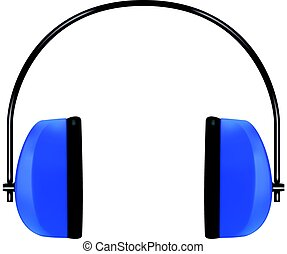 Realistic blue protective headphones or earmuffs - Realistic...