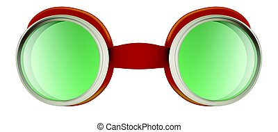 Weird safety goggles isolated on white - Red plastic weird...
