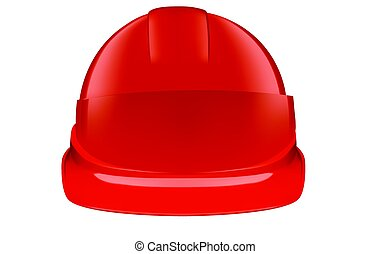 Red safety helmet on white background - Red plastic safety...
