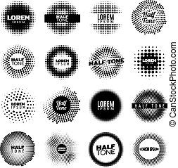 Abstract Halftone Design Round Elements Set