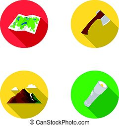 Map of the area, an ax, a flashlight, mountains with...