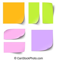 different sticky notes - collection of different colored...