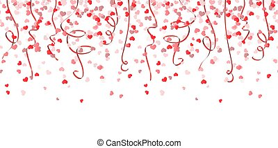 seamless confetti hearts and streamers background