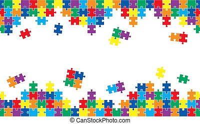 seamless puzzle background with colored parts on top and...
