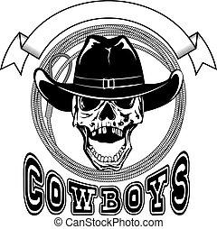 cowboy lasso var 12 - Vector illustration cowboy skull in...