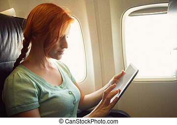 woman in an airplane
