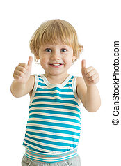 Portrait of beautiful kid boy giving you thumbs up isolated...