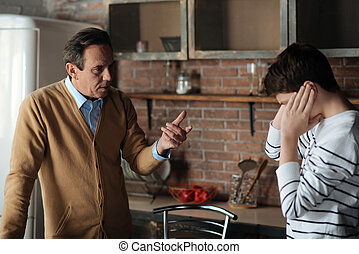 Reasonable father talking to his son