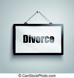 divorce text sign - divorce text on hanging sign, isolated...