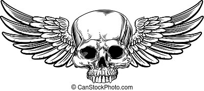 Winged Skull Vintage Etched Woodcut Style