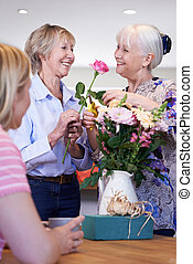 Women Meeting At Flower Arranging Class
