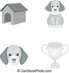 Dog house, protective collar, dog muzzle, cup. Dog set collection icons in monochrome style vector symbol stock illustration web.