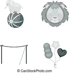 Elephant on the ball, circus lion, crossbeam, balls.Circus set collection icons in monochrome style vector symbol stock illustration web.