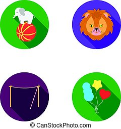 Elephant on the ball, circus lion, crossbeam, balls.Circus set collection icons in flat style vector symbol stock illustration web.