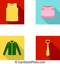 Shirt with long sleeves, shorts, T-shirt, tie.Clothing set collection icons in flat style vector symbol stock illustration web.
