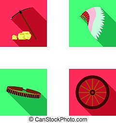 Pickaxe and stones, bandolier, cartwheel, mohawk.Wild west...