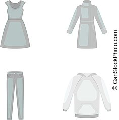 Dress with short sleeves, trousers, coats, raglan.Clothing...