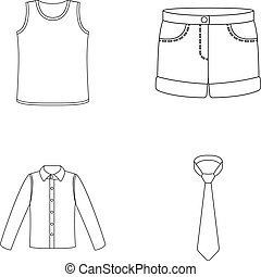 Shirt with long sleeves, shorts, T-shirt, tie.Clothing set collection icons in outline style vector symbol stock illustration web.