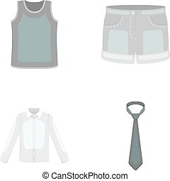Shirt with long sleeves, shorts, T-shirt, tie