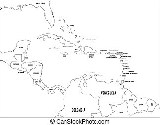 Central America and Carribean states political map. Black outline borders with black country names labels. Simple flat vector illustration