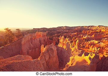 Bryce - Picturesque colorful pink rocks of the Bryce Canyon...