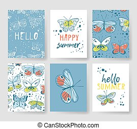 Set of templates for summer cards. Hand drawn vector...