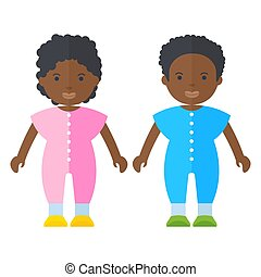 black people teeny - Black people teeny. Flat vector cartoon...