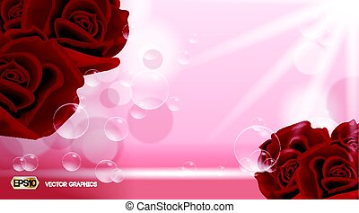 Red rose flowers fragrance for ads. Dazzling effect background. 3D Realistic Vector illustration