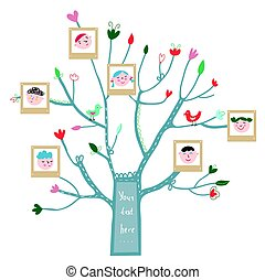 Funny tree card with family portraits