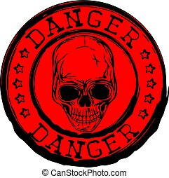red skull stamp danger - Abstract vector illustration red...